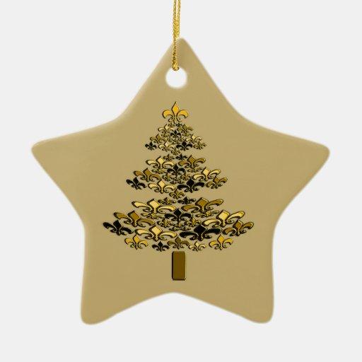 Gold fleur de lis christmas tree star ceramic ornament