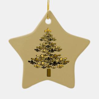 Gold Fleur de Lis Christmas Tree Star Double-Sided Star Ceramic Christmas Ornament