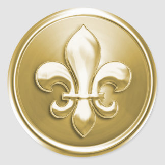 Gold Fleur de Lis Envelope Seal Embossed Look Classic Round Sticker