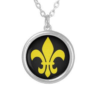 Gold Fleur De Lis French on Black Round Pendant Necklace