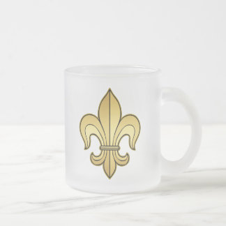 Gold Fleur de lis Frosted Glass Coffee Mug