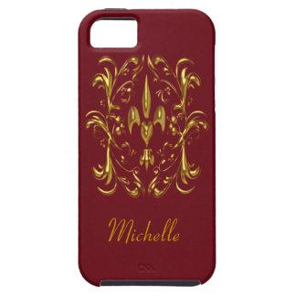 Gold Fleur de Lis Heart Pattern (bordeaux) iPhone SE/5/5s Case