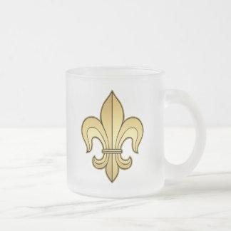 Gold Fleur de lis 10 Oz Frosted Glass Coffee Mug