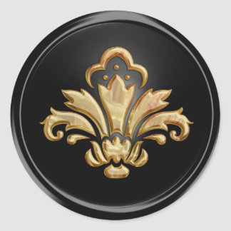 Gold Fleur de Lis on Black  Envelope Seal