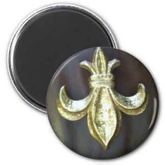 Gold  Fleur de lis on Brown Fridge Magnet