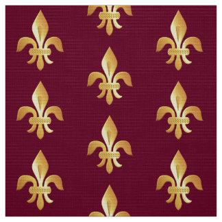 Gold Fleur-de-lis on burgundy Fabric