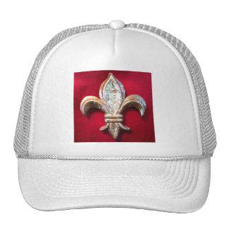 GOLD FLEUR DE LIS ON DARK RED Hat
