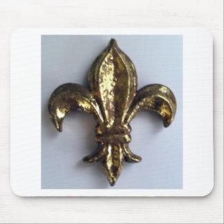 Gold  Fleur de lis on white Mouse Pad