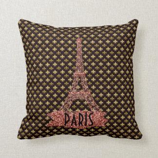 Gold Fleur De Lis Pattern Pink Eiffel Tower Paris Throw Pillow
