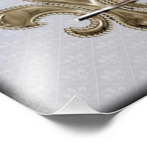 Gold Fleur de Lis silver background black edges Photo Print