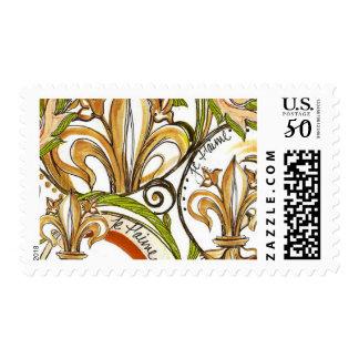 Gold Fleur de Lis Versailles Swirl Postage