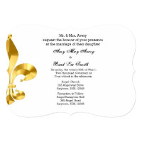 Gold Fleur de Lis Wedding Invitation