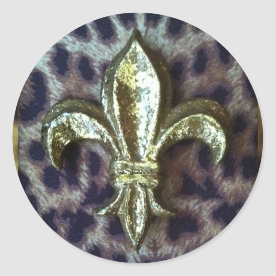 GOLD FLEUR-DE-LIS WITH LEOPARD FRAME CLASSIC ROUND STICKER