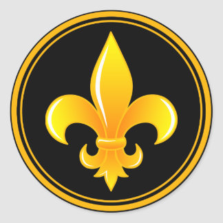 Gold Fleur De Lis with outter rim Classic Round Sticker