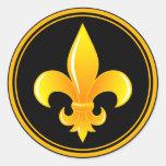 Gold Fleur De Lis with outter rim Round Sticker
