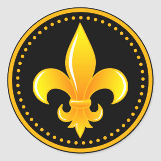 Gold Fleur De Lis with outter rim with dots Classic Round Sticker