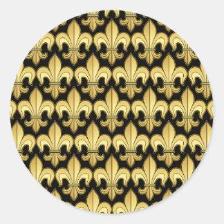 Gold Fleur de lis XXX Dat Classic Round Sticker