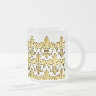 Gold Fleur de lis XXX Dat 10 Oz Frosted Glass Coffee Mug