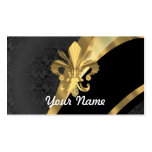 Gold fleur de lys on black Double-Sided standard business cards (Pack of 100)