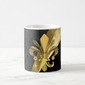 Gold fleur de lys on black coffee mug
