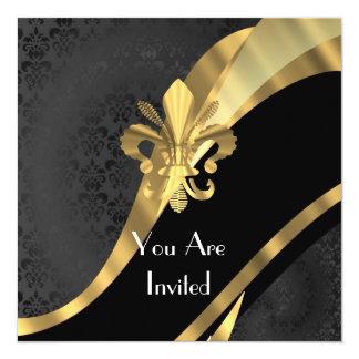 Gold fleur de lys on black damask 5.25x5.25 square paper invitation card