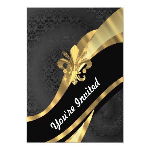 Gold fleur de lys on black 5x7 paper invitation card