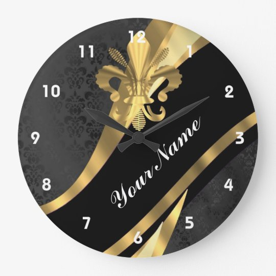 Gold fleur de lys on black large clock