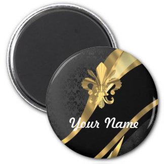 Gold fleur de lys on black magnet
