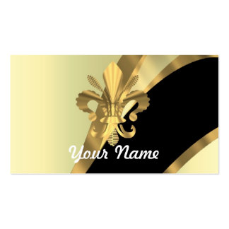 Gold fleur de lys personalized Double-Sided standard business cards (Pack of 100)