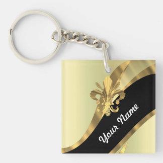 Gold fleur de lys personalized keychain