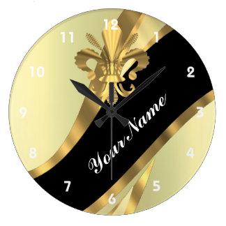 Gold fleur de lys personalized large clock