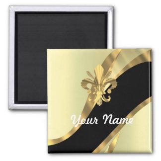 Gold fleur de lys personalized magnet