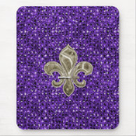gold fleur de lys purple sequin effect mousepad