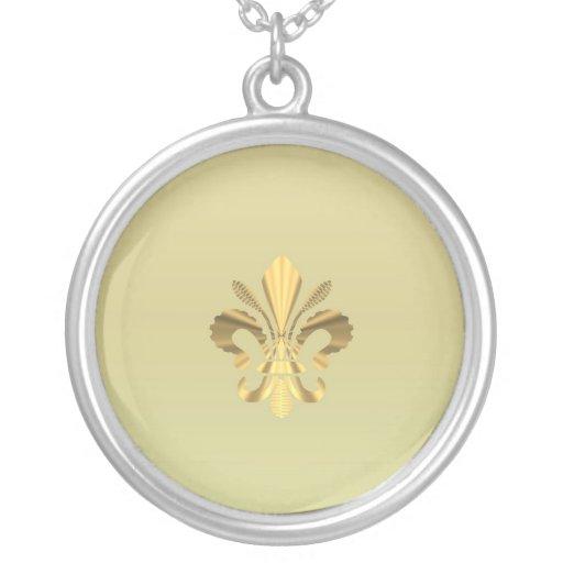 Gold fleur de lys round pendant necklace