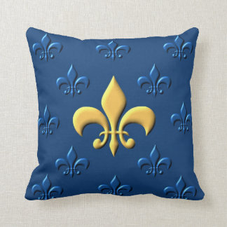 Gold Fleur-de-Lys Throw Pillow