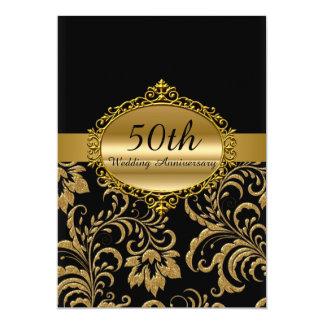 Gold Floral 50th Wedding Anniversary Invite