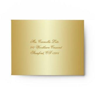 Gold Floral A2 Envelope for RSVP Card envelope