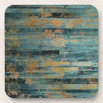 Gold Floral and Blue Rustic Wood Decoupage Beverage Coaster