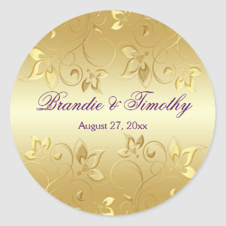"""Gold Floral and Purple 1.5"""" Round Sticker"""