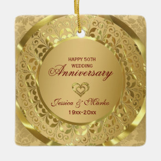 Gold Floral And Ring  50th Wedding Anniversary Ceramic Ornament