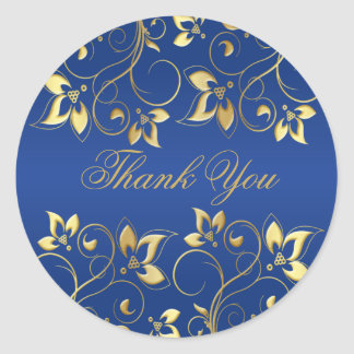 Gold Floral and Royal Blue 1 5 Round Sticker
