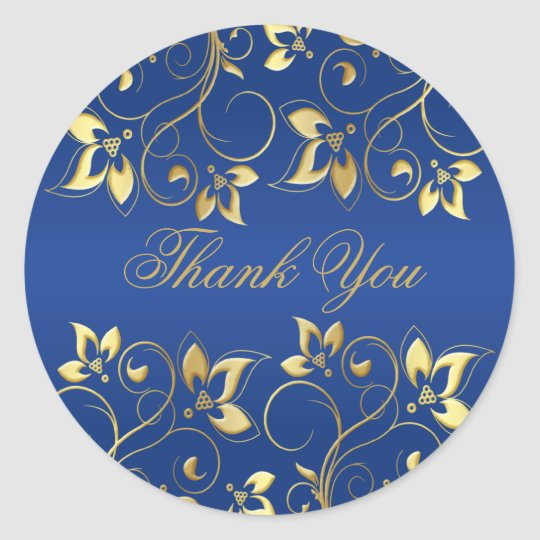 "Gold Floral and Royal Blue 1.5"" Round Sticker"