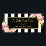 """Gold Floral Black White Stripes Gift Certificate<br><div class=""""desc"""">Gold Floral Black White Stripes Gift Certificate Card.  (1) For further customization,  please click the &quot;customize further&quot; link and use our design tool to modify this template.  (2) If you need help or matching items,  please contact me.</div>"""