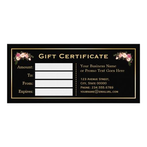 Gold floral black white stripes gift certificate zazzle for Zazzle gift certificate