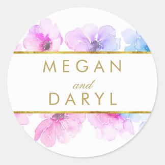 Gold Floral Blue Purple Elegant Wedding Classic Round Sticker