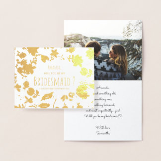 Gold floral boho Will you be my Bridesmaid photo Foil Card
