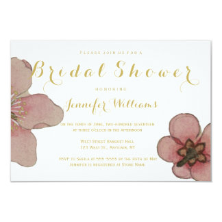 Gold floral bridal shower invitations