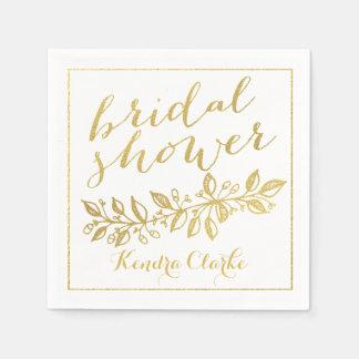 GOLD FLORAL BRIDAL SHOWER NAPKINS
