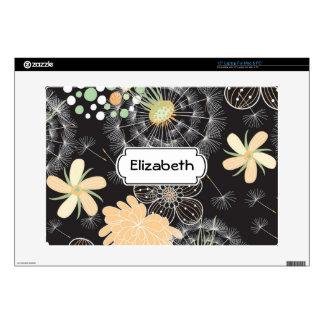 Gold Floral Burst Pattern Monogram Laptop Skin
