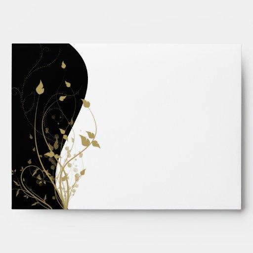 Gold Floral Curved Envelope